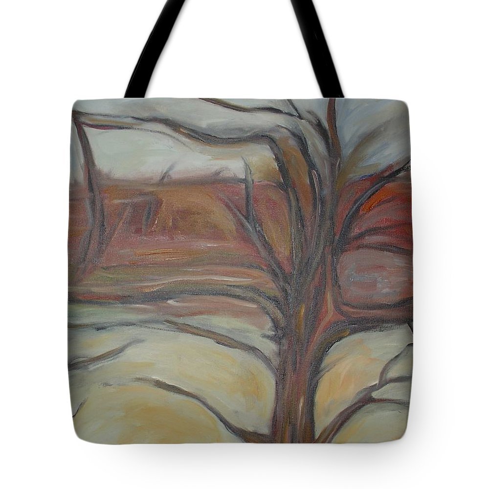Woods Tree Abstract Original Painting Winter Tote Bag featuring the painting Drift by Leila Atkinson