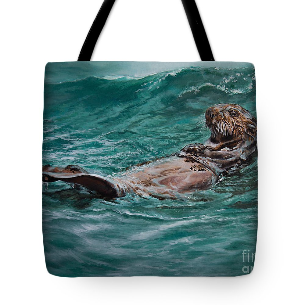 Otter Tote Bag featuring the painting Drifter by Lachri