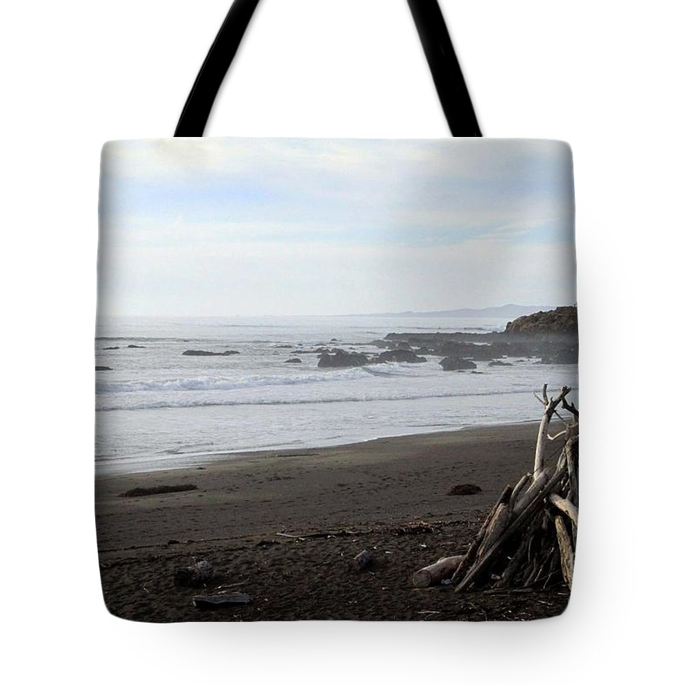 Beach Tote Bag featuring the mixed media Driftwood And Moonstone Beach by Linda Woods