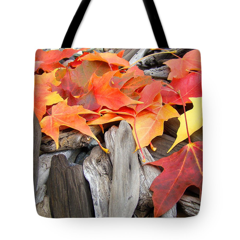 Autumn Tote Bag featuring the photograph Driftwood Autumn Leaves Art Prints Baslee Troutman by Baslee Troutman
