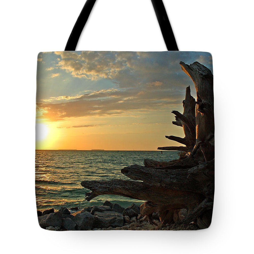 Sunset Tote Bag featuring the photograph Driftwood Sunset by Susanne Van Hulst