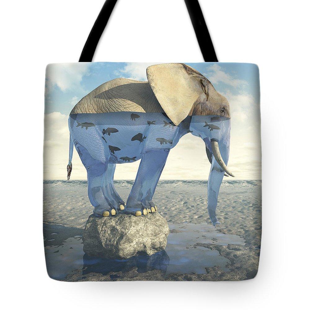 Elephant Tote Bag featuring the digital art Drinking Problem by Cynthia Decker