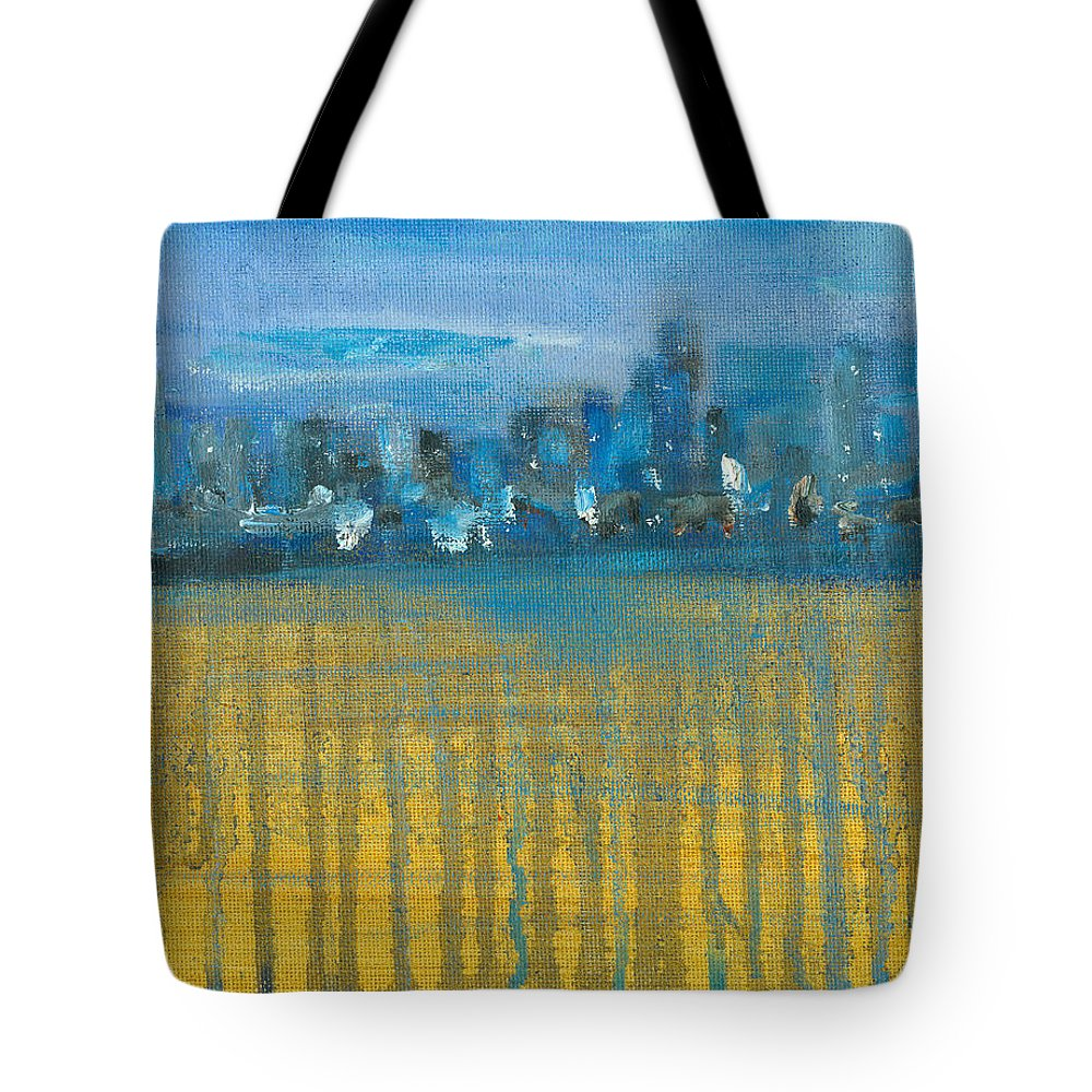 Seascape Tote Bag featuring the painting DripCity by Jorge Delara