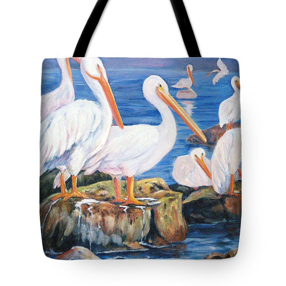Pelicans On The Louisiana Jetties Tote Bag featuring the painting Drippin Wet by Anne Dentler