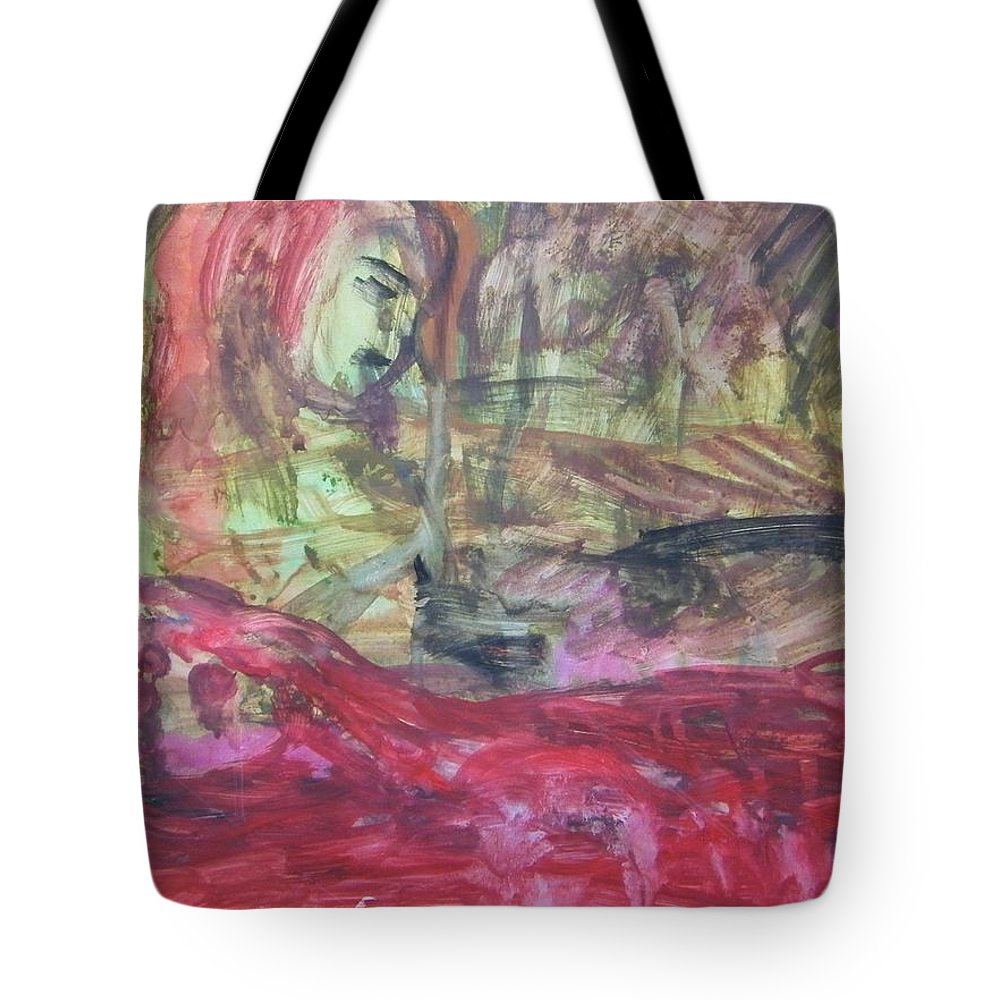 Abstract Tote Bag featuring the painting Drive By Innocents by Judith Redman