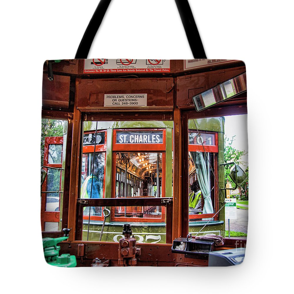 Streetcar Tote Bag featuring the photograph Driver St. Charles Trolley New Orleans by Chuck Kuhn
