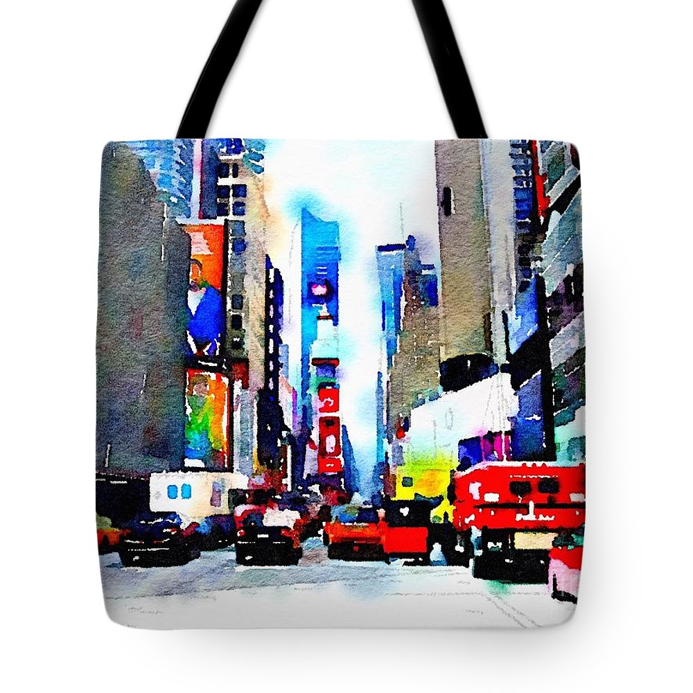 New York Tote Bag featuring the digital art Driving Manhattan by Denise Haddock
