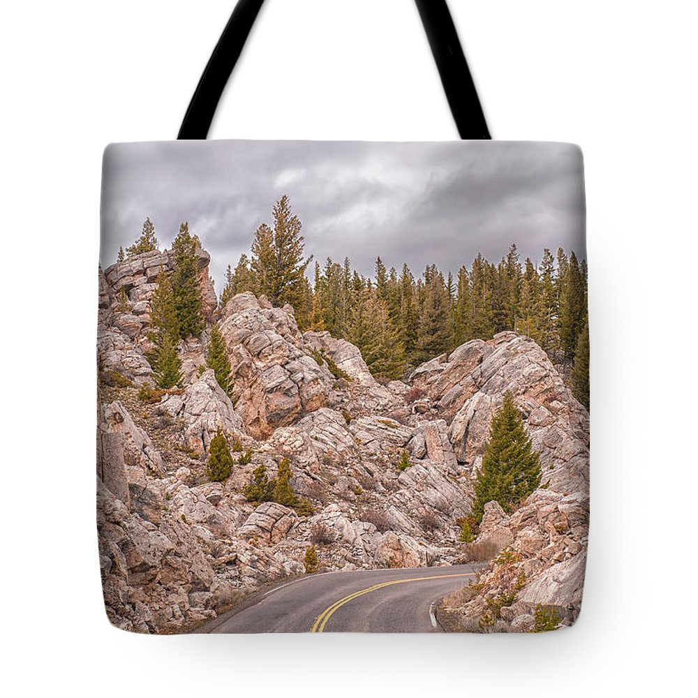 Yellowstone Tote Bag featuring the photograph Driving Through The Hoodoos by CR Courson