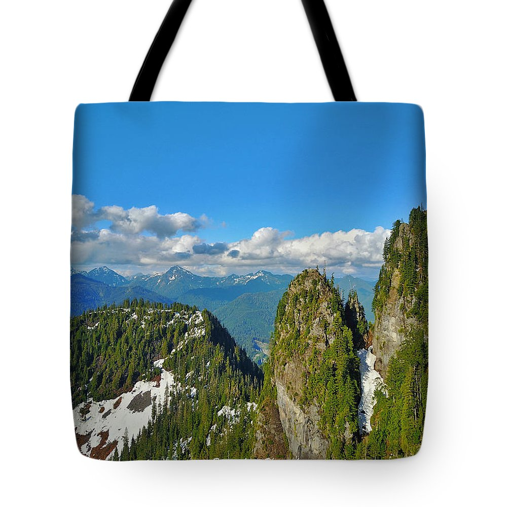 Tote Bag featuring the pastel Drone Shot Above Heather Lake by Brandon Larson