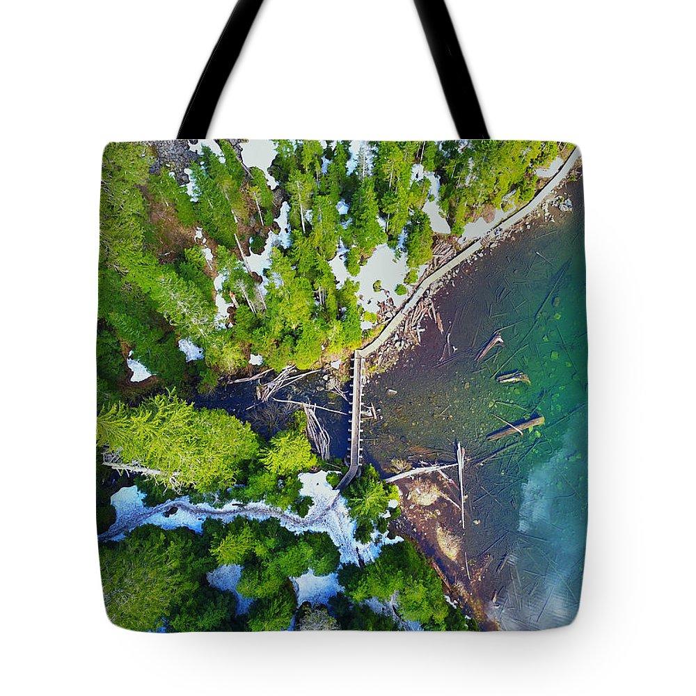 Tote Bag featuring the photograph Drone Shot Of Lake 22 Bridge by Brandon Larson