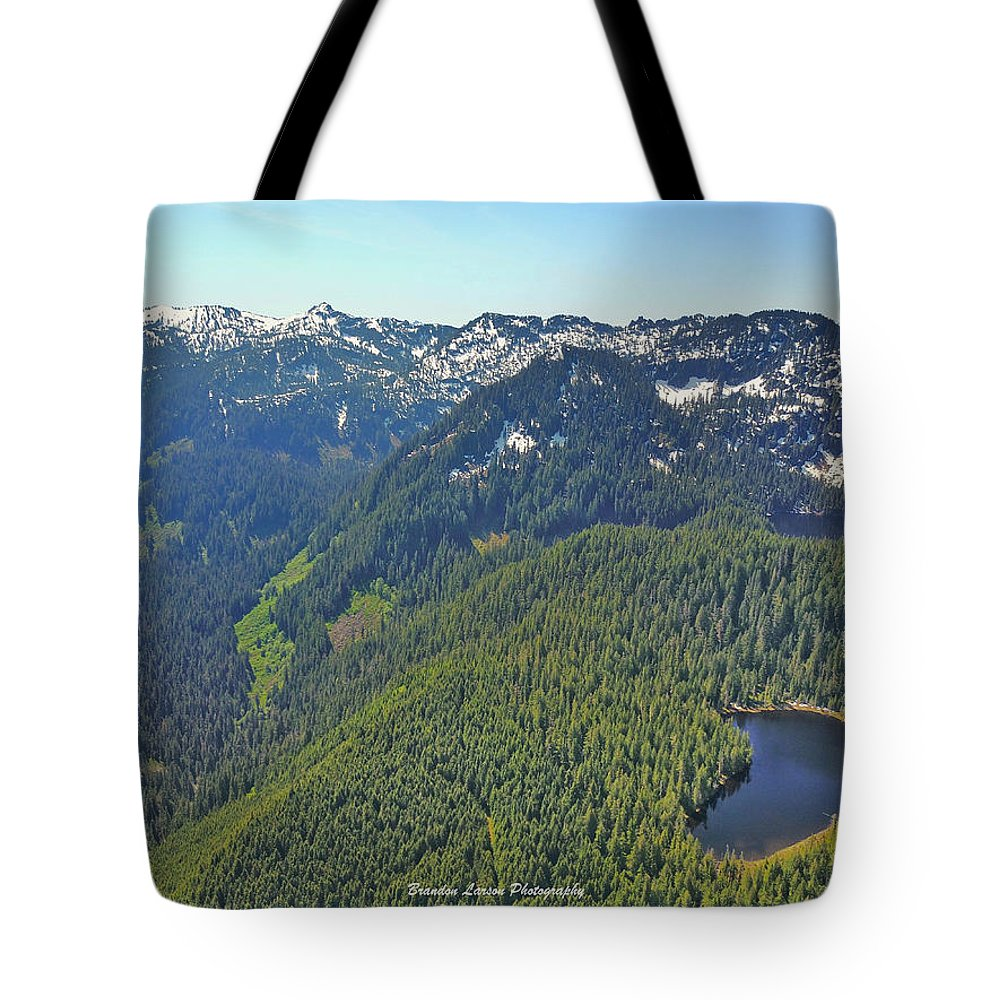 Tote Bag featuring the photograph Drone Shot Of Lake Evan by Brandon Larson