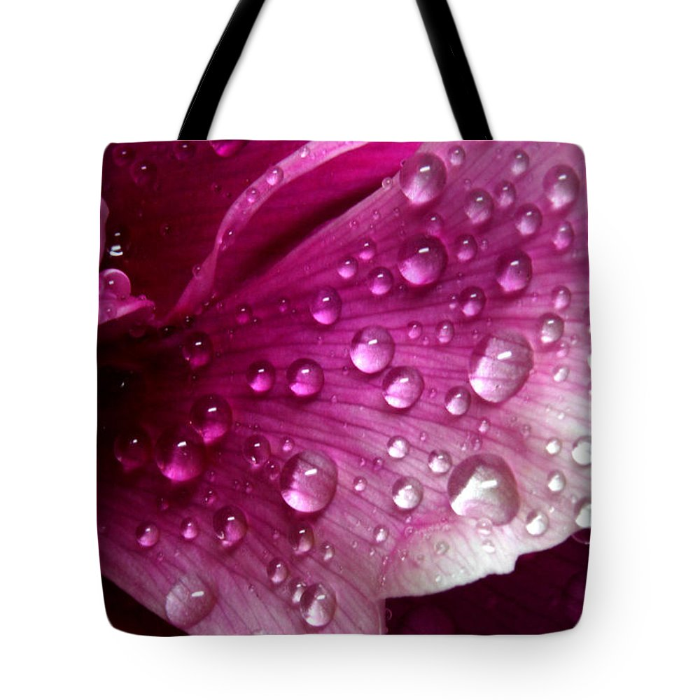 Macro Tote Bag featuring the pyrography Droplets On Peony 1 by Robert Morin