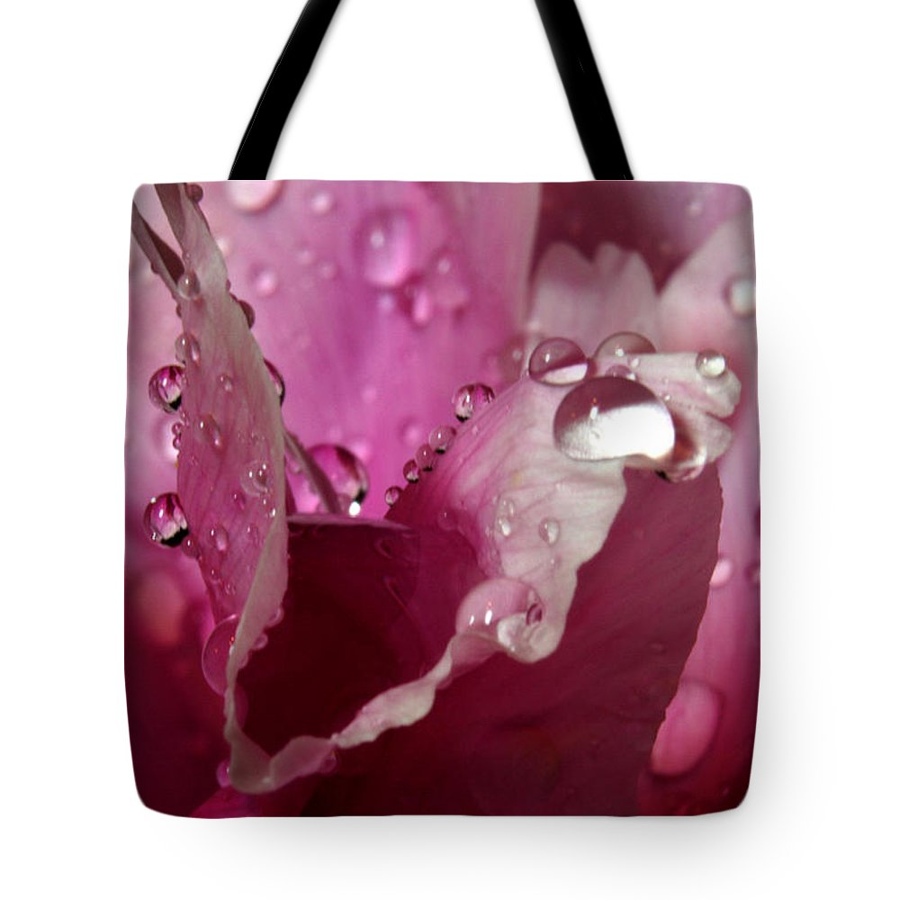 Flower Tote Bag featuring the pyrography Droplets On Peony 2 by Robert Morin