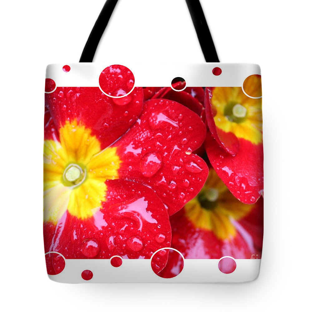 Primrose Tote Bag featuring the photograph Drops Upon Raindrops 4 by Carol Groenen