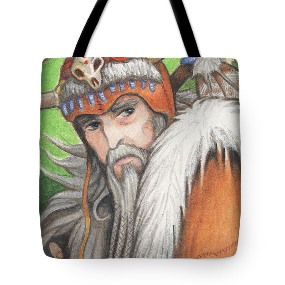 Atc Tote Bag featuring the drawing Druid Priest by Amy S Turner