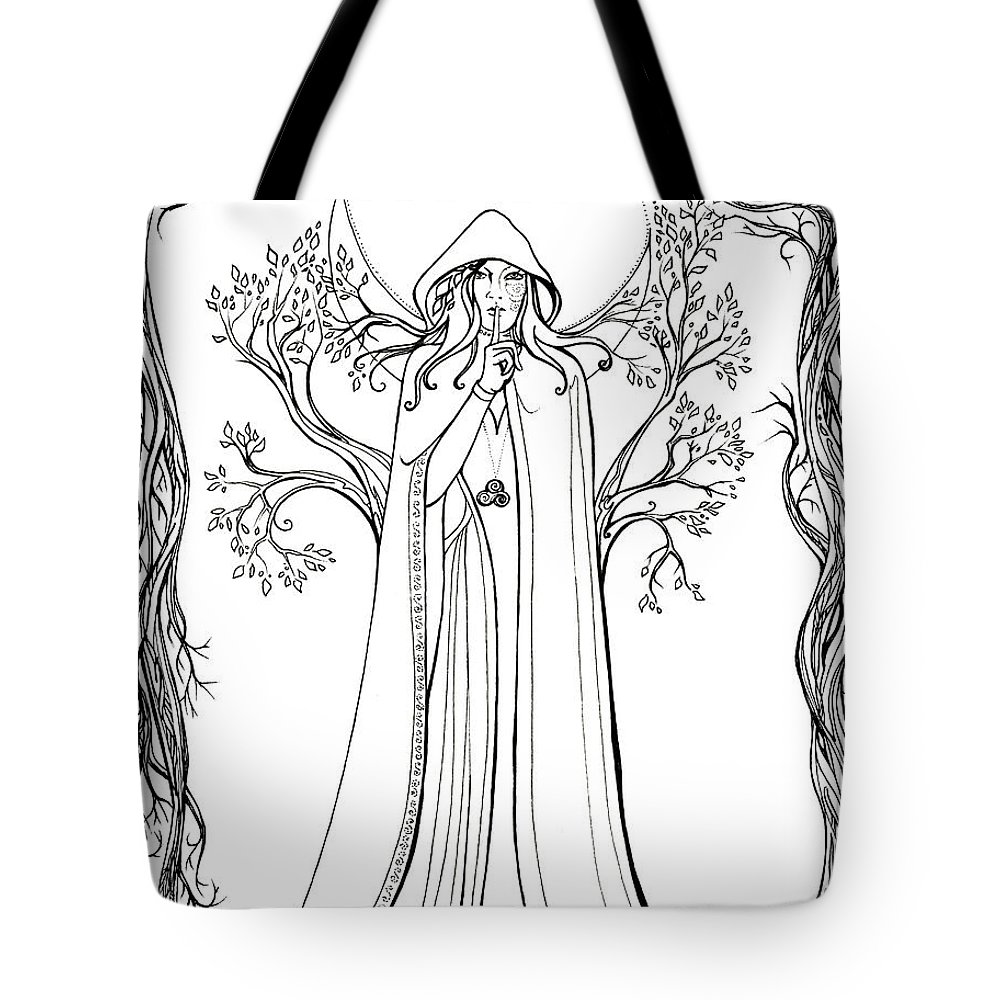 Druid Tote Bag featuring the drawing Druid Woman Shush by Katherine Nutt
