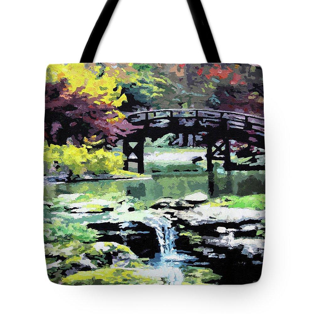 Bridge Tote Bag featuring the painting Drum Bridge Missouri Botanical Garden by John Lautermilch