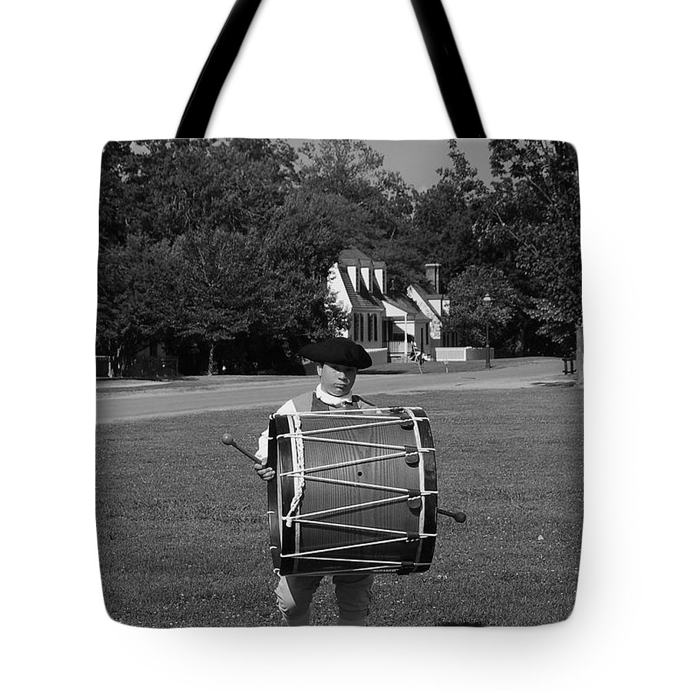 Colonial Tote Bag featuring the photograph Drummer Boy by Eric Liller