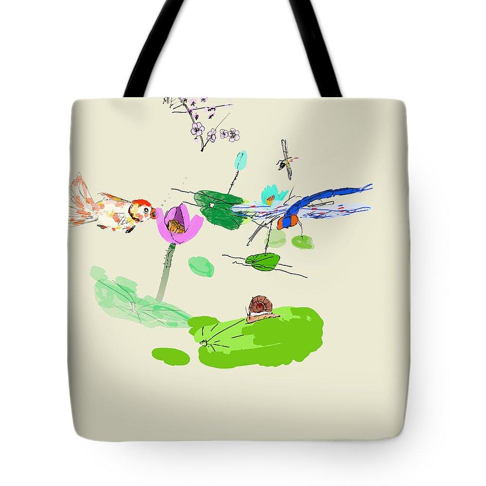 Landscape. Flowers. Water. Lotus. Blackbirds Tote Bag featuring the digital art Drunk On Berries by Debbi Saccomanno Chan