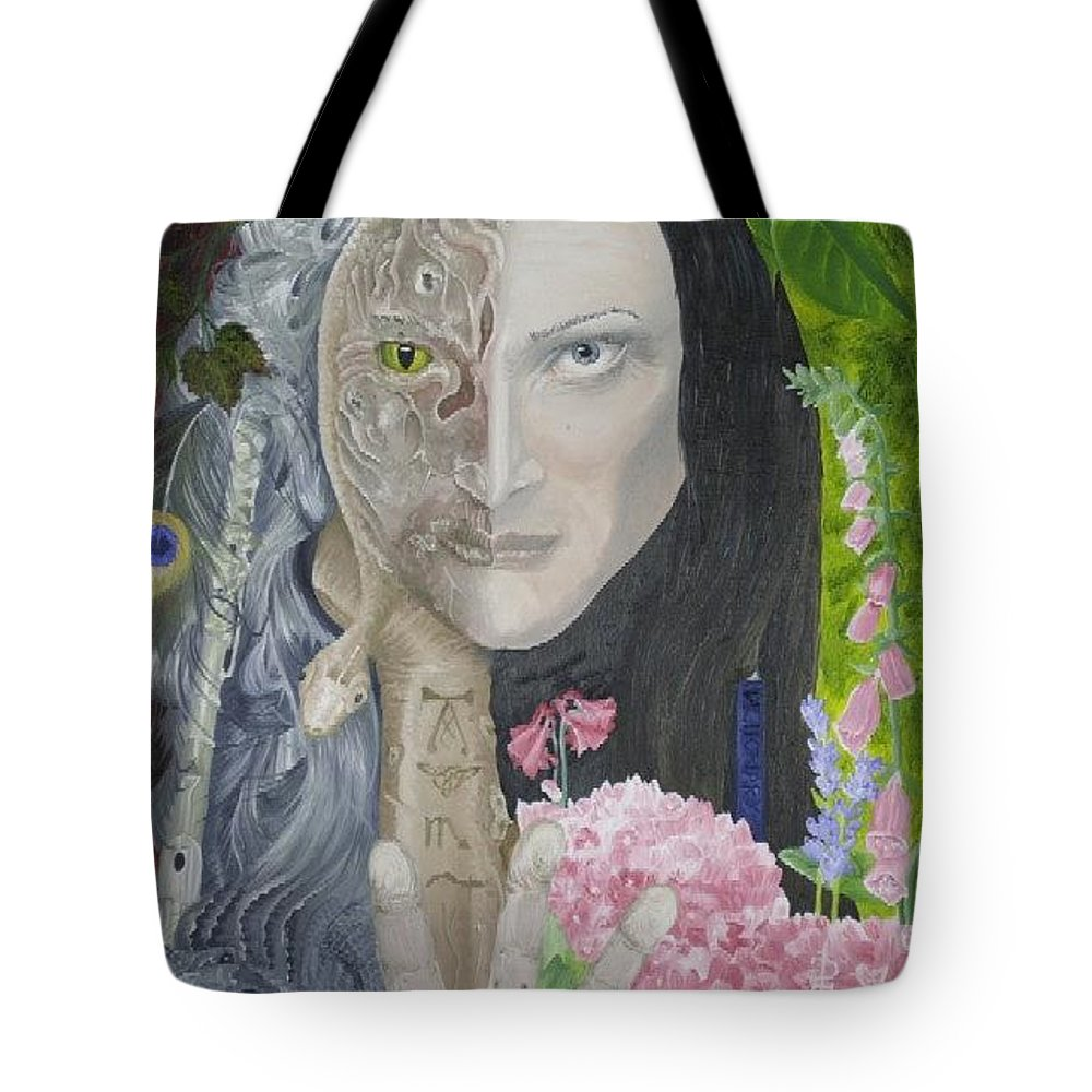 Portrait Dual Personality Flowers Hand Flute Crocodile Snake Boils Tote Bag featuring the painting Duality Of Nature by Pauline Sharp