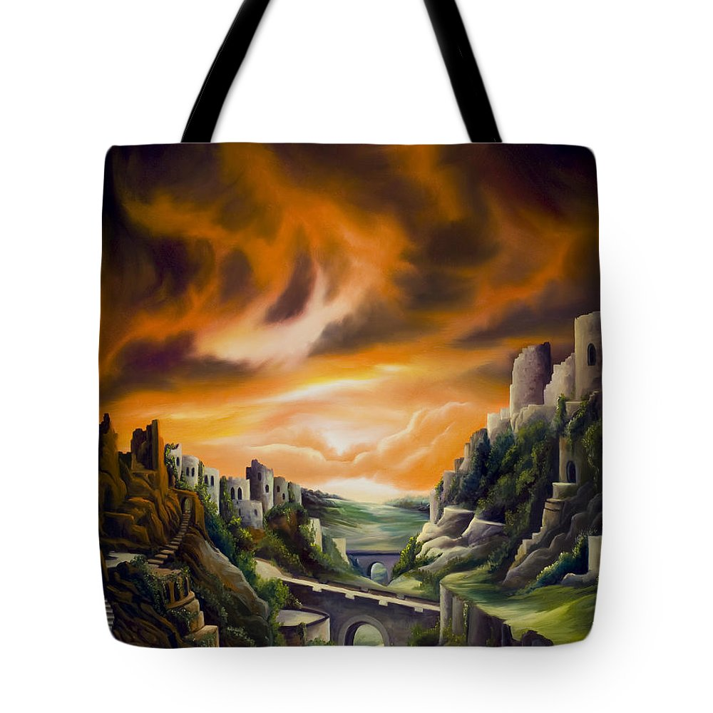 Ruins; Cityscape; Landscape; Nightmare; Horror; Power; Roman; City; World; Lost Empire; Dramatic; Sky; Red; Blue; Green; Scenic; Serene; Color; Vibrant; Contemporary; Greece; Stone; Rocks; Castle; Fantasy; Fire; Yellow; Tree; Bush Tote Bag featuring the painting Duallands by James Christopher Hill