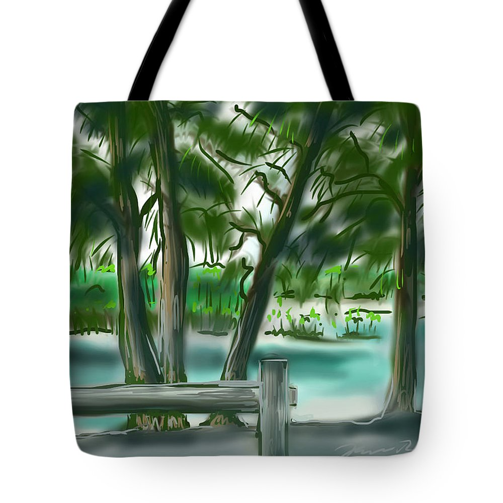 Dubois Park Tote Bag featuring the painting Dubois Park Lagoon by Jean Pacheco Ravinski