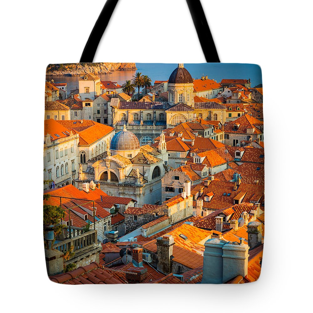 Adriatic Tote Bag featuring the photograph Dubrovnik Sunset by Inge Johnsson
