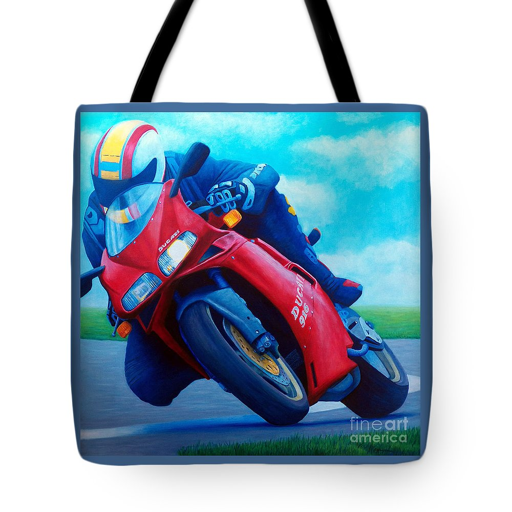 Motorcycle Tote Bag featuring the painting Ducati 916 by Brian Commerford