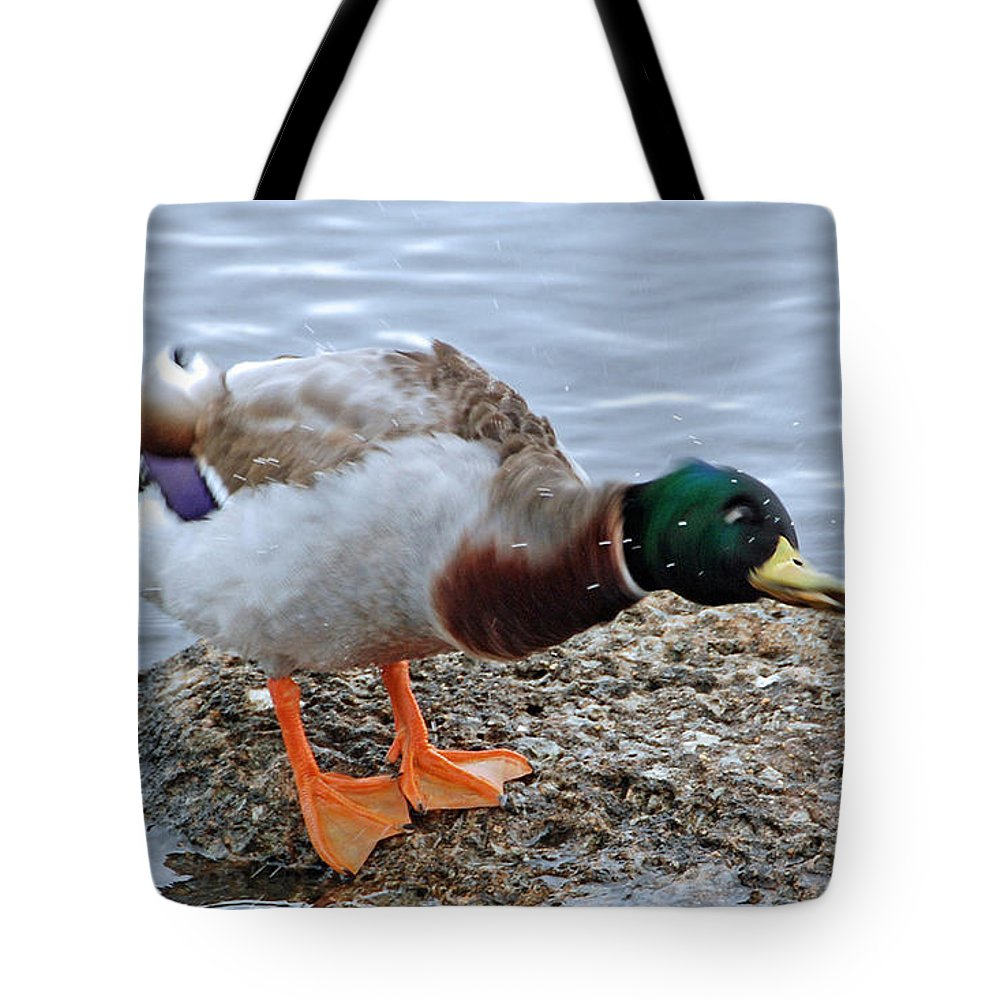 Duck Tote Bag featuring the photograph Duck Bath Alantic Beaches Nc by Tommy Anderson