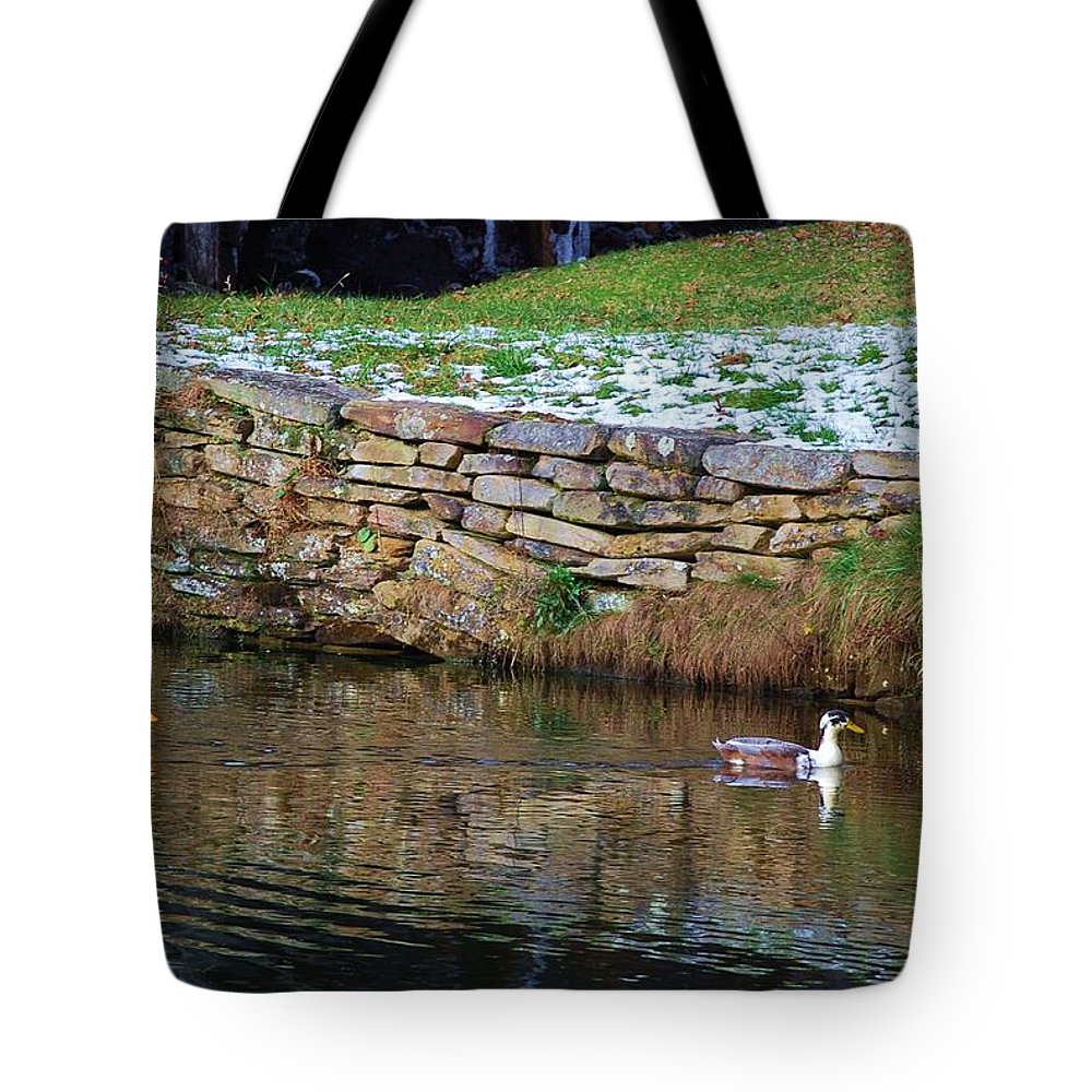 Duck Tote Bag featuring the photograph Duck Duck by Eric Liller