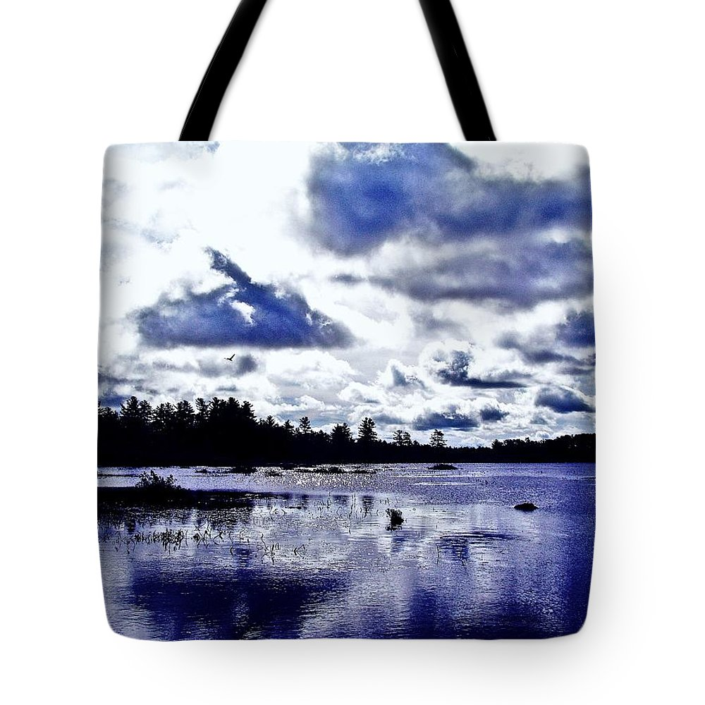 Duck Tote Bag featuring the photograph Duck Soars Little Togus Pond Storm Clouds Augusta by David Rafuse Captured Images of Maine