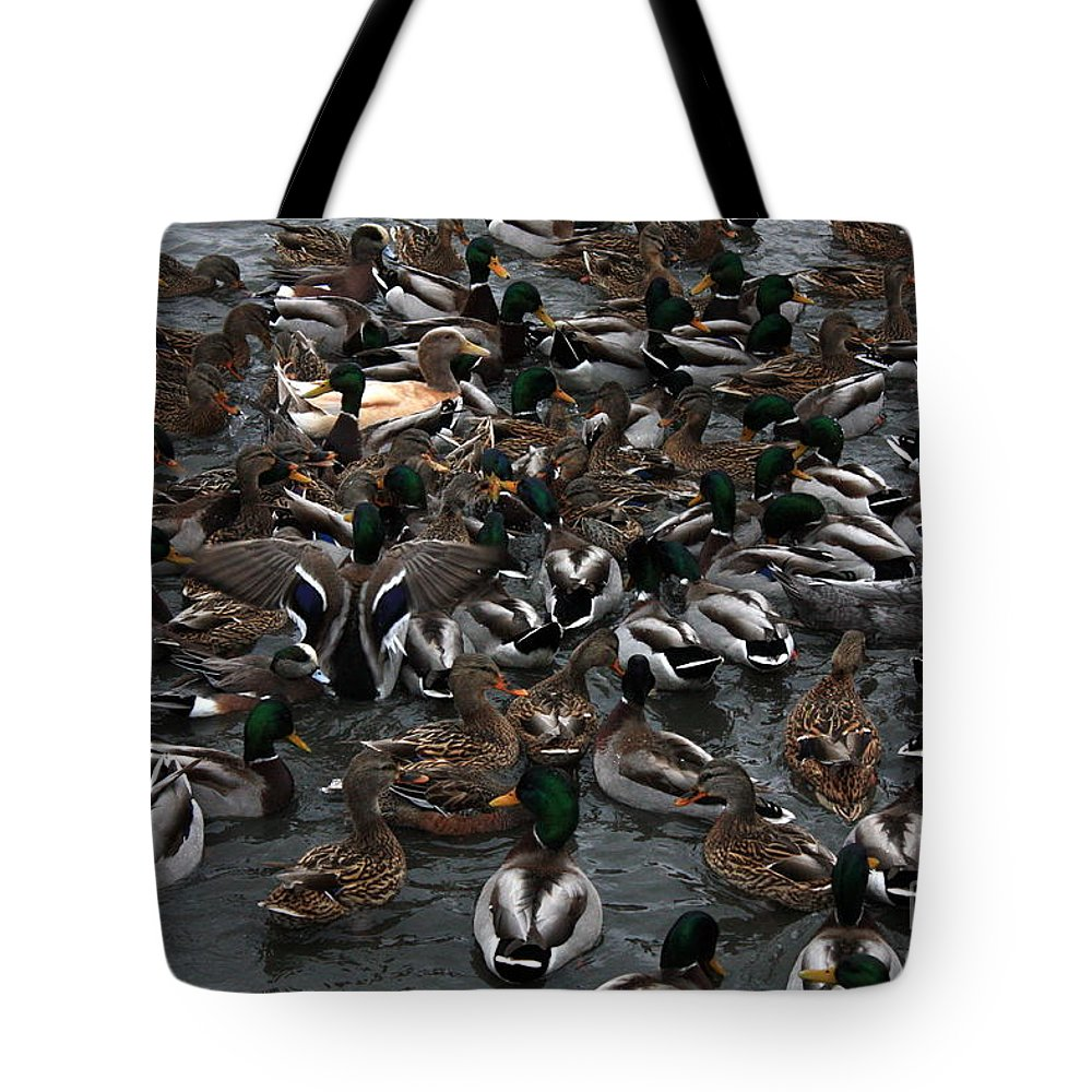 Duck Tote Bag featuring the photograph Duck Soup by Carol Groenen