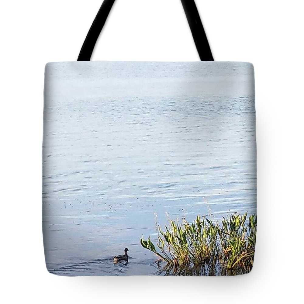 Duck Swimming In Lake Tote Bag featuring the photograph Duck Swimming In Lake by John Hiatt