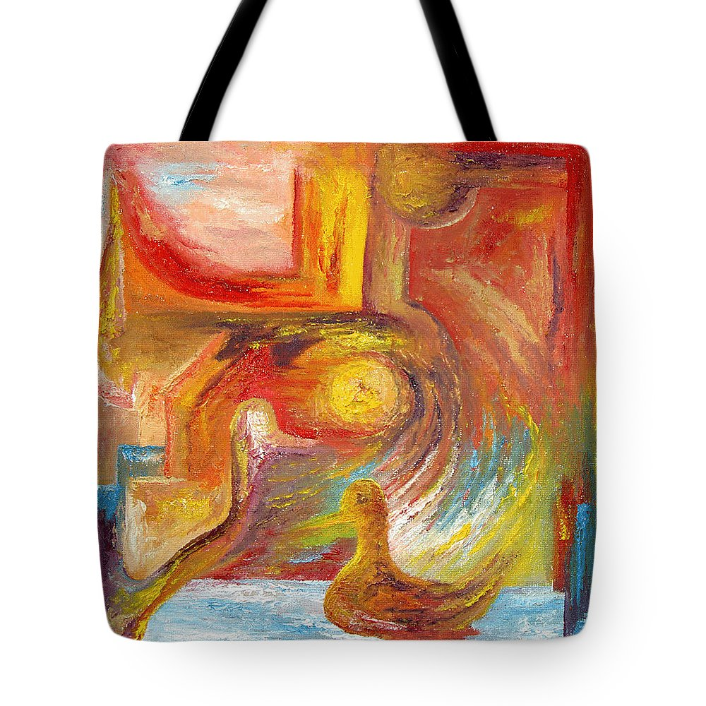 Duck Tote Bag featuring the painting Duck The Alchemist by Karina Ishkhanova