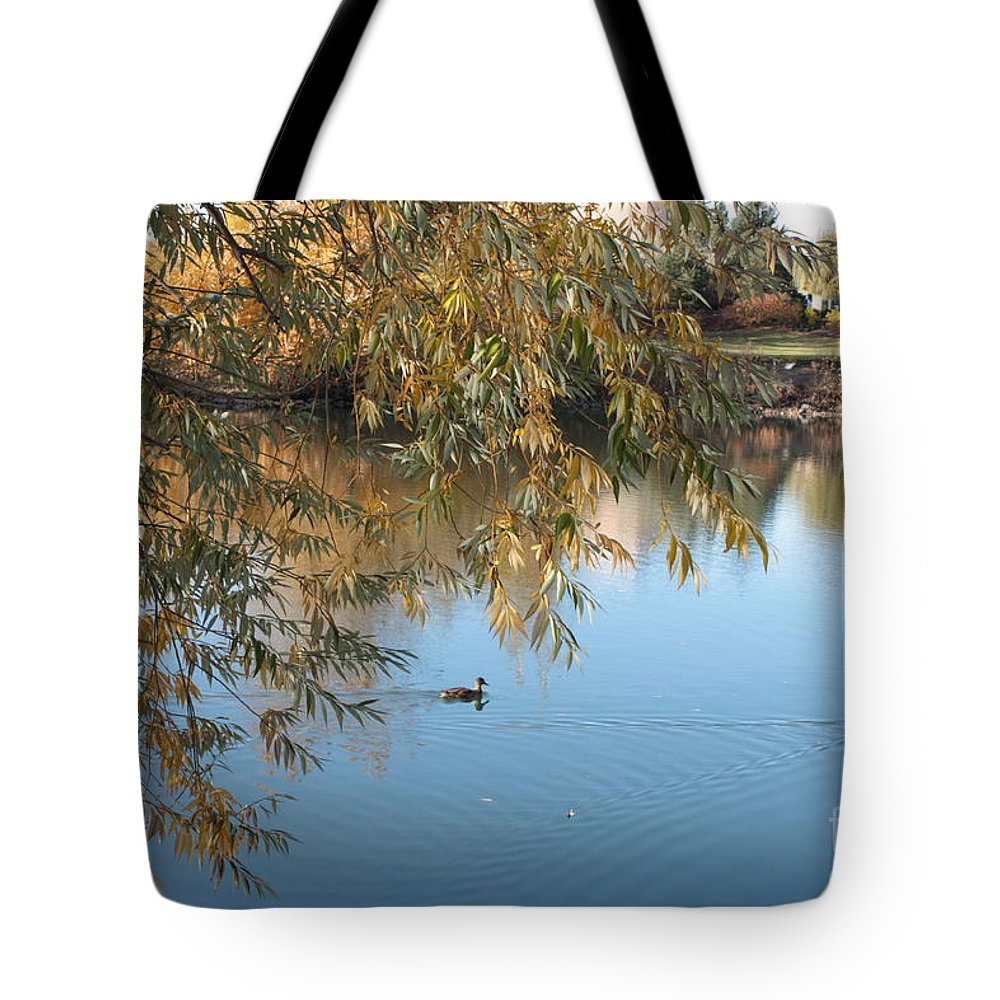Autumn Pond Tote Bag featuring the photograph Ducks On Peaceful Autumn Pond by Carol Groenen