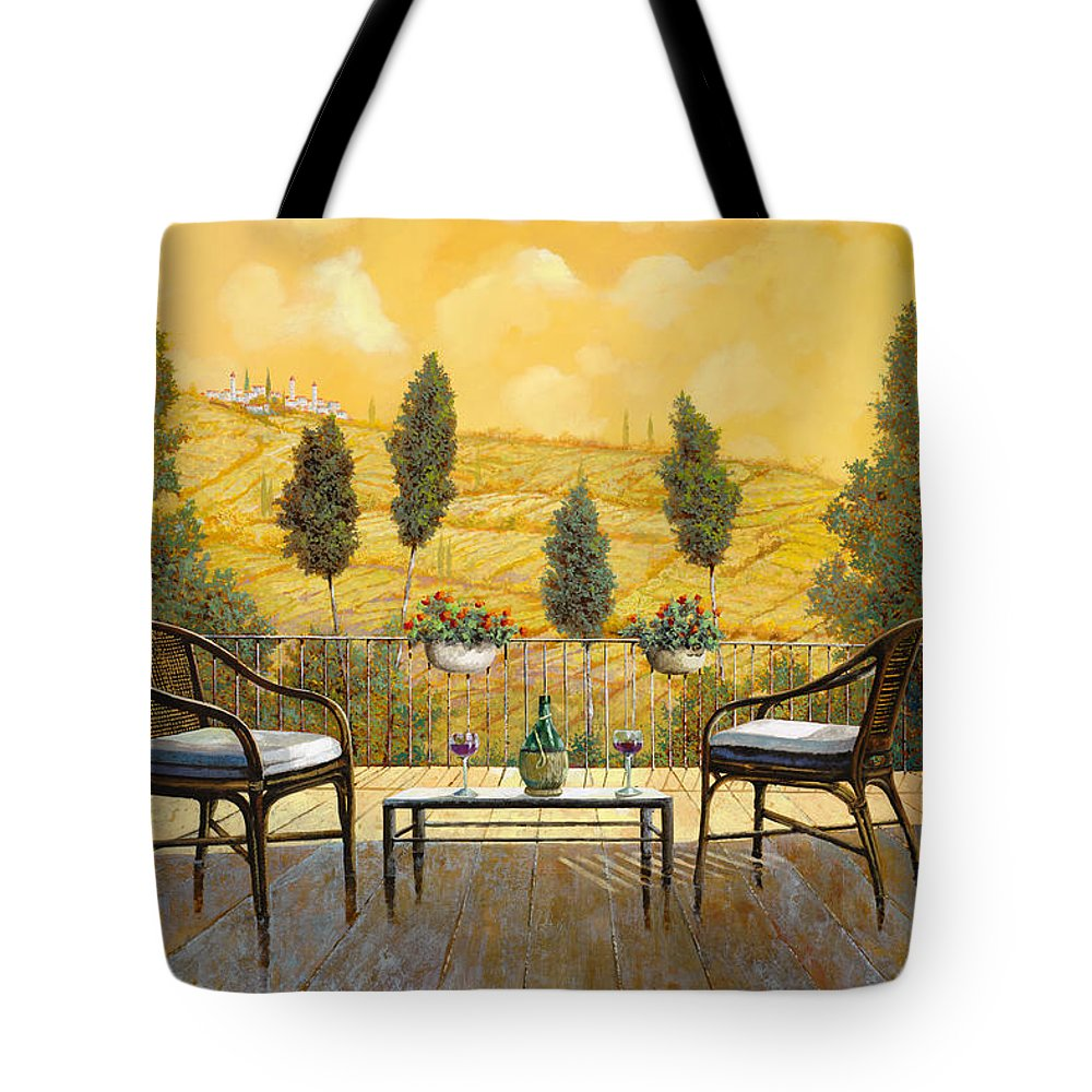Terrace Tote Bag featuring the painting due bicchieri di Chianti by Guido Borelli
