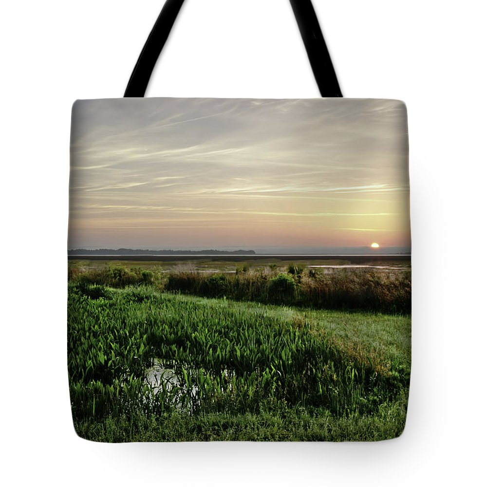 Sunrise Tote Bag featuring the photograph Due East by Phill Doherty