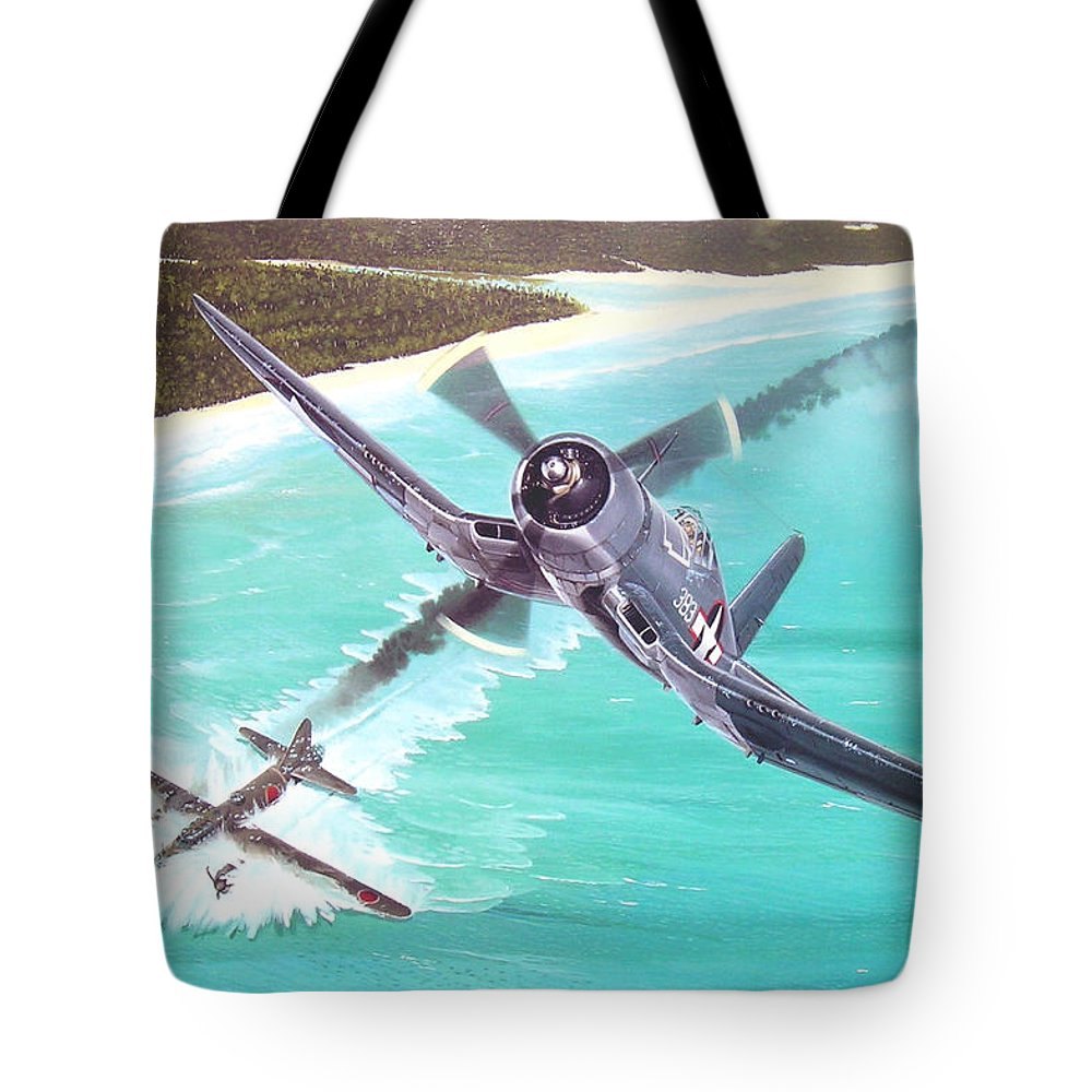 Military Tote Bag featuring the painting Duel Over New Georgia by Marc Stewart