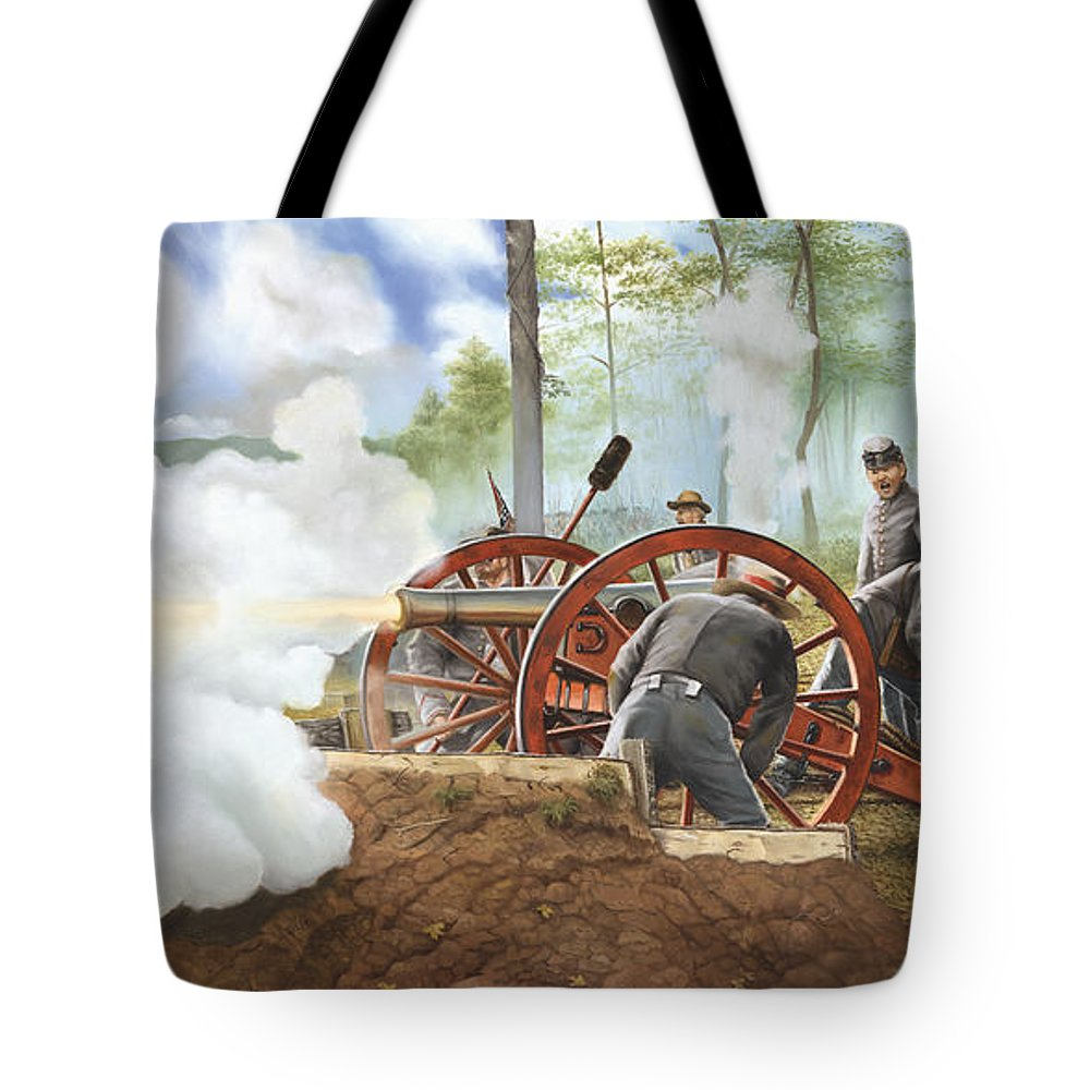 Civil War Tote Bag featuring the painting Duel Over Utoy by Marc Stewart