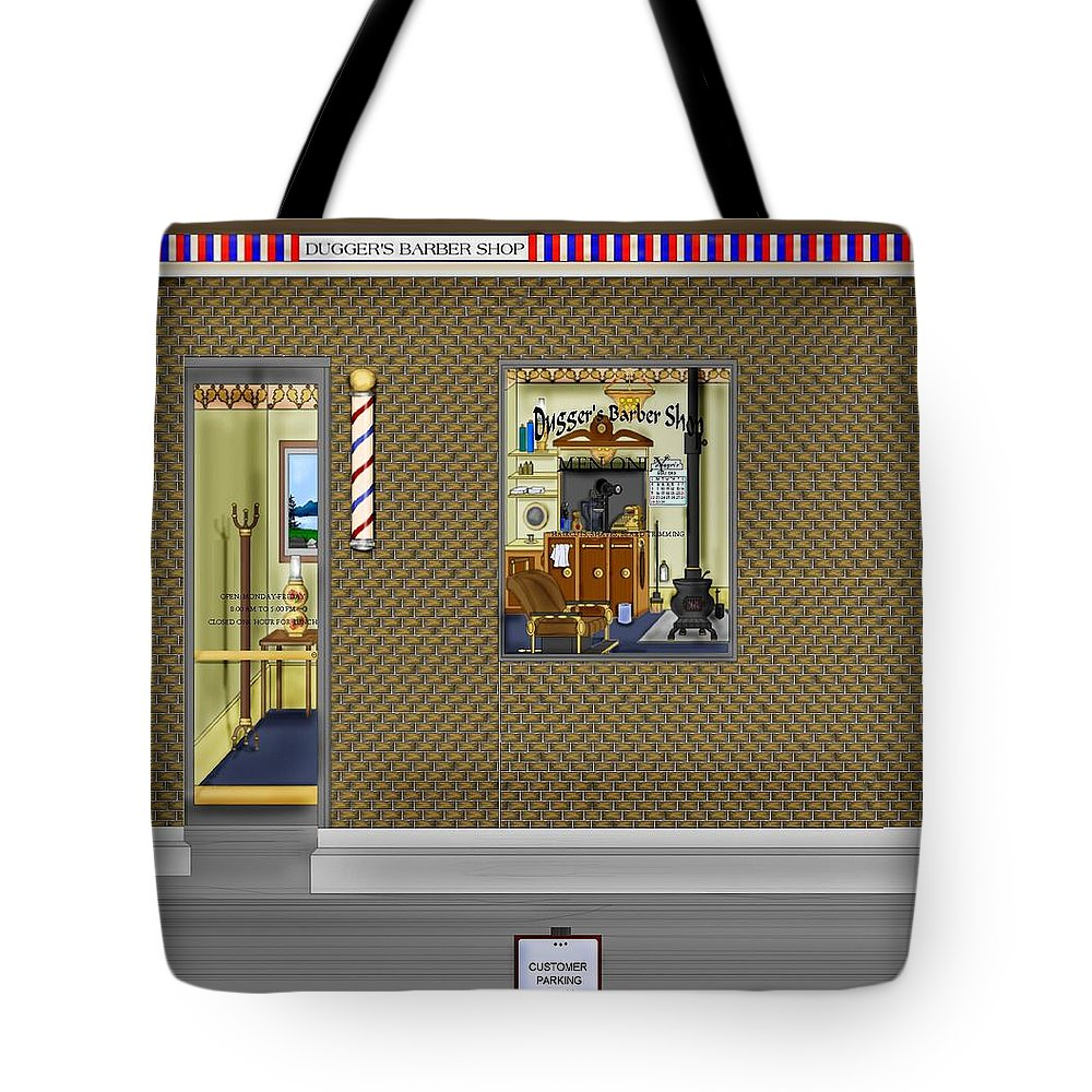Townscape Tote Bag featuring the painting Dugger's Barber Shop by Anne Norskog