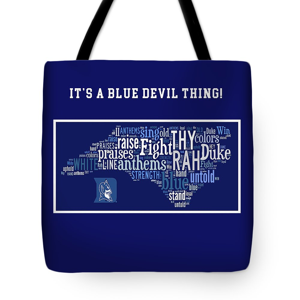 Wright Tote Bag featuring the digital art Duke University Blue And White Products by Paulette B Wright