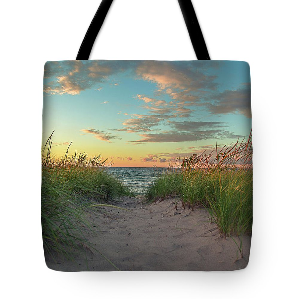Sand Dune Tote Bag featuring the photograph Dune Path At Sunset by Jackie Novak