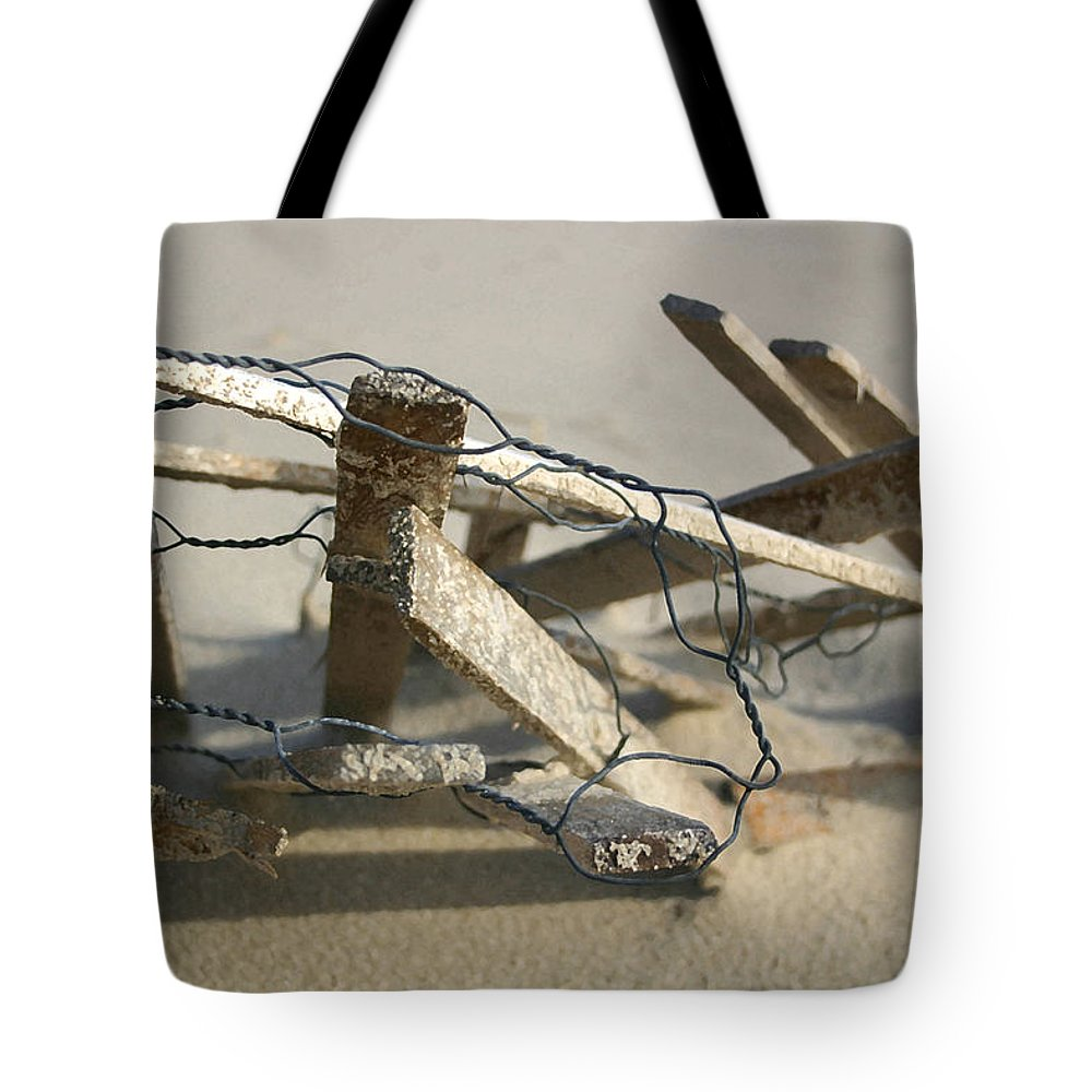 Seascape Tote Bag featuring the photograph Dunefence by Mary Haber