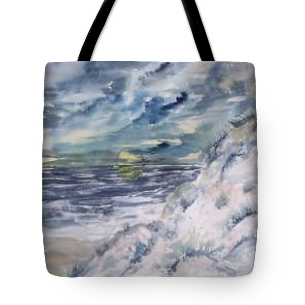 Seascape Tote Bag featuring the painting Dunes 2 Seascape Painting Poster Print by Derek Mccrea