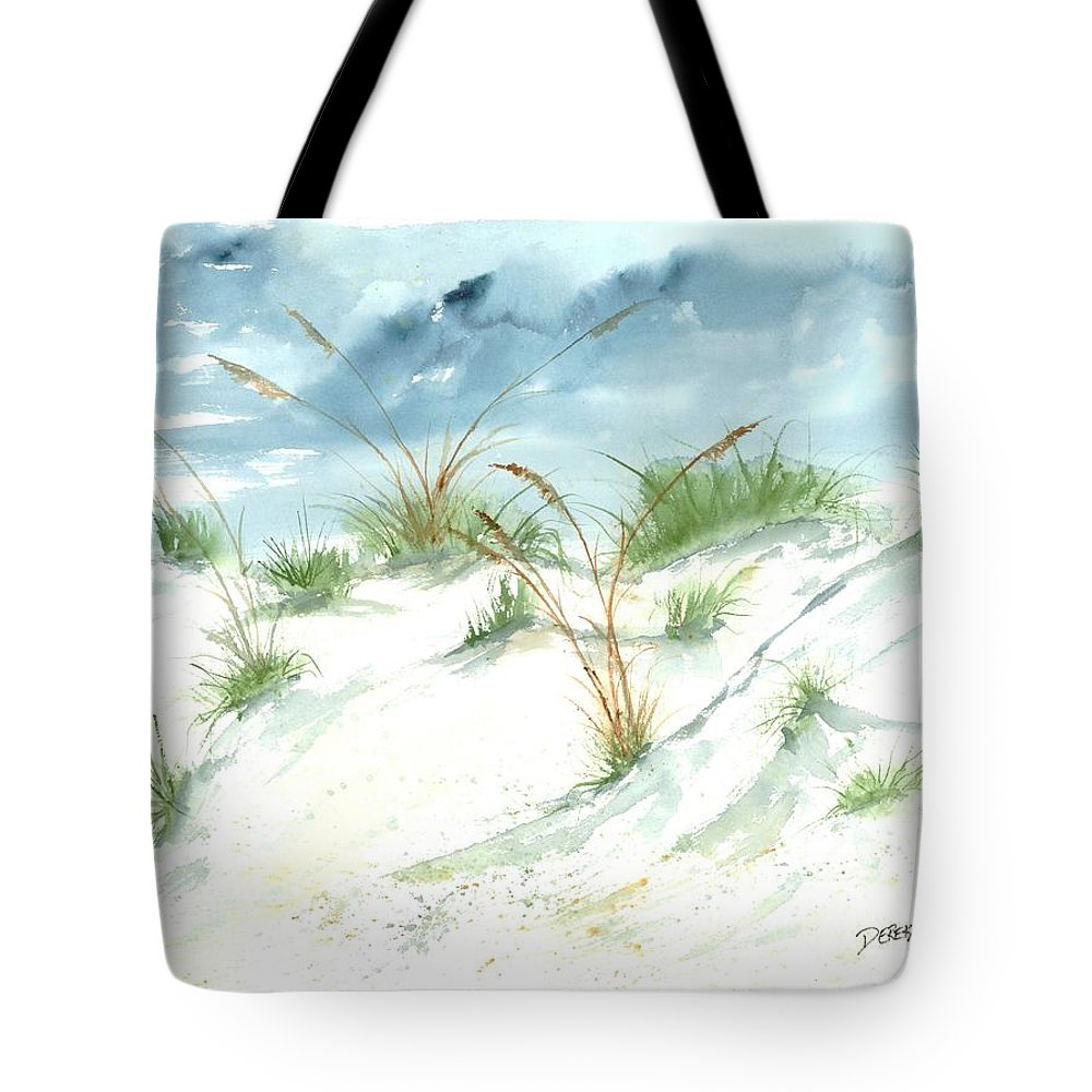 Beach Tote Bag featuring the painting Dunes 3 Seascape Beach Painting Print by Derek Mccrea