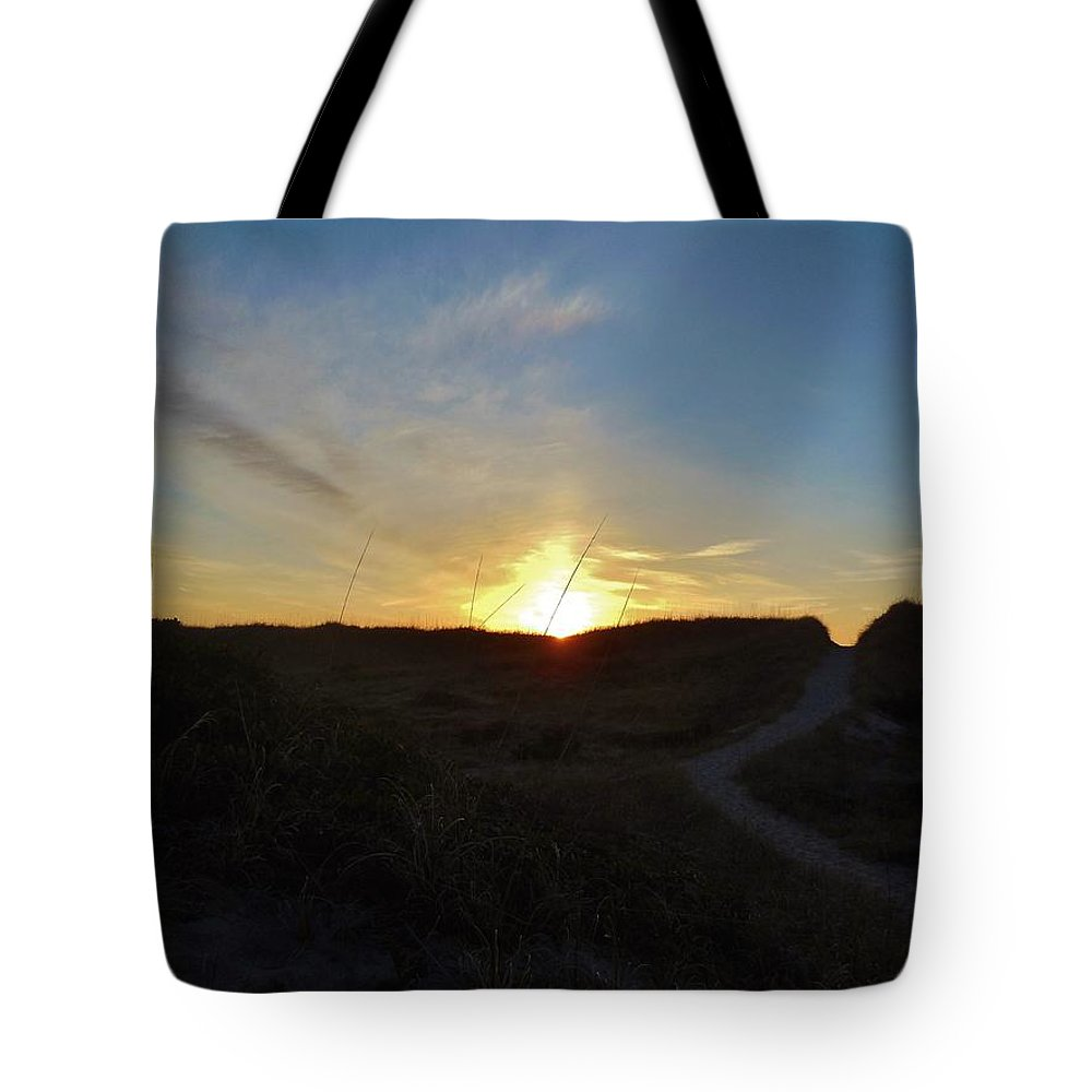 Mark Lemmon Cape Hatteras Nc The Outer Banks Photographer Subjects From Sunrise Tote Bag featuring the photograph Dunes A Blaze 3 412 by Mark Lemmon