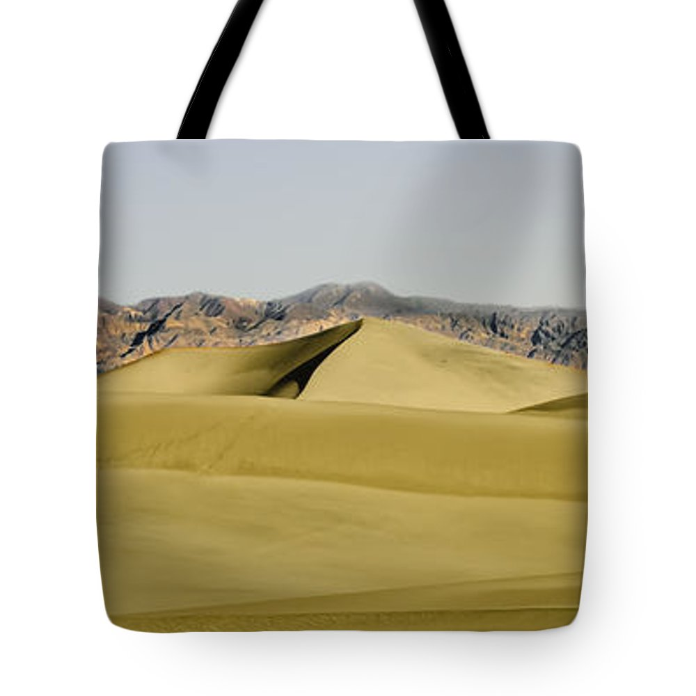 Death Valley Tote Bag featuring the photograph Dunes And Mountains Four Wider by Paul Basile