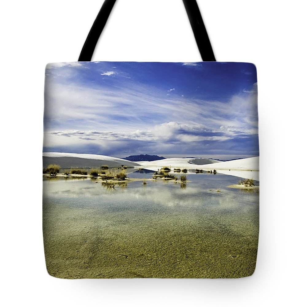 White Sands Tote Bag featuring the photograph Dunes And Reflections Three by Paul Basile