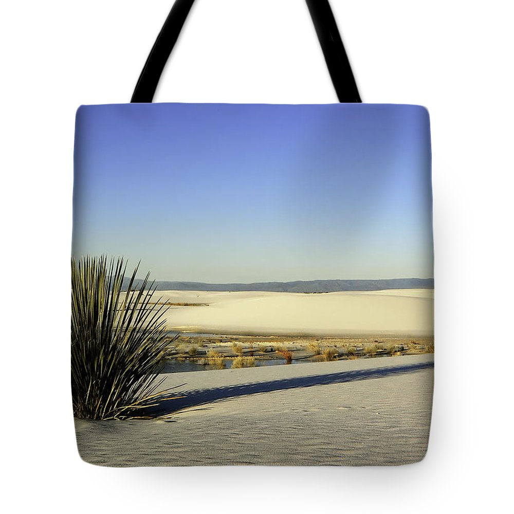 White Sands Tote Bag featuring the photograph Dunes And Yucca One by Paul Basile