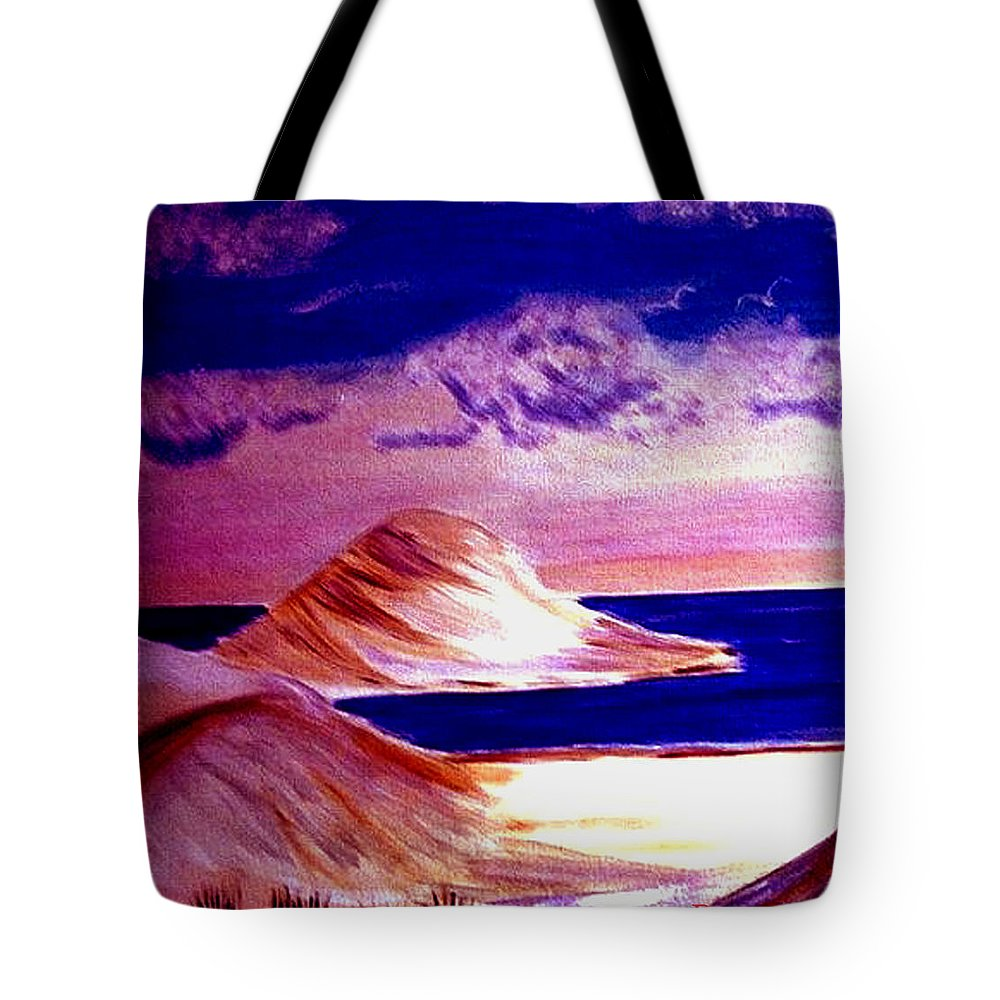Sand Dunes Tote Bag featuring the painting Dunes by Rusty Gladdish